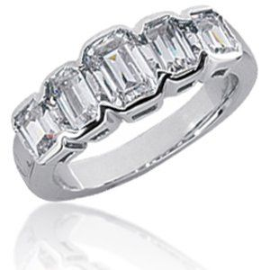 Ladies emerald cut five stone diamond anniversary band. Offered to you in a variety of metal and...