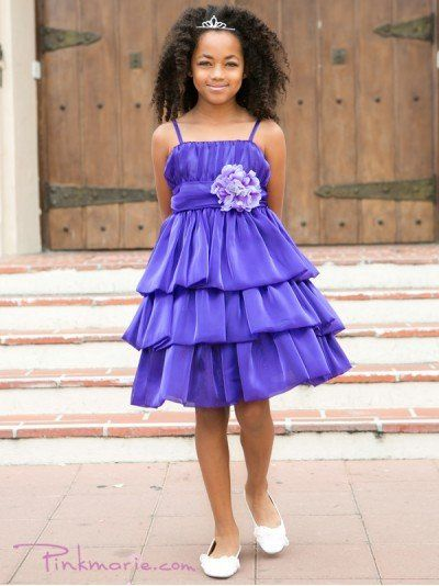 Purple Beautiful Double Layered 3-tiered Shiny Organza Girl Dress Price: $49.99 Product Code:...