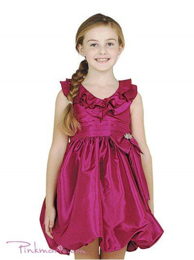 Fushia Taffeta V-neck Ruffle Bubble Girl Dress Price: $39.99 Product Code: CD0112BFS Absolutely...