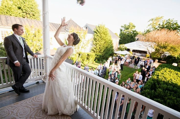 Bouquet toss from the second floor