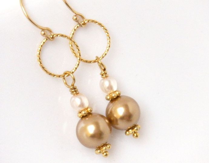 Golden Baroness Earrings in Gold:  iridescent gold glass beads are accented with gold vermeil...