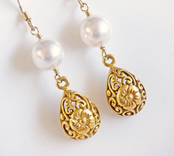 Afternoon At the Museum Earrings: delicate gold vermeil filigree teardrops and white Swarovski...