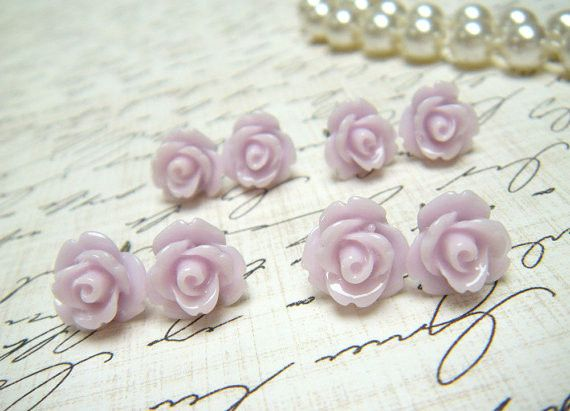 Four (4) Pair TinyThistle Purple Flower Earrings, Thistle Rose Earrings, Stud Earrings, Bridesmaid...