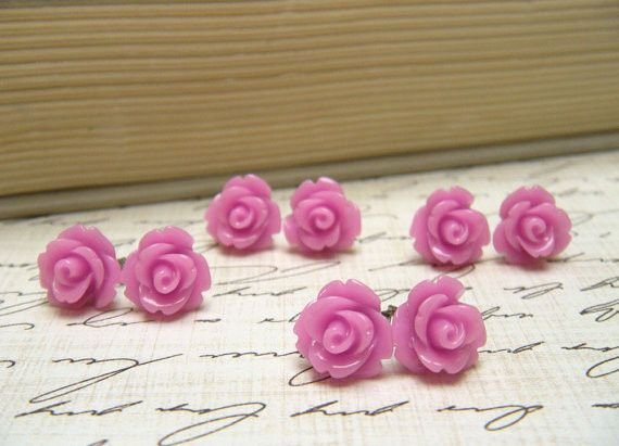 Tiny lilac purple colored rose stud earrings are that perfect vintage inspired touch to your look....