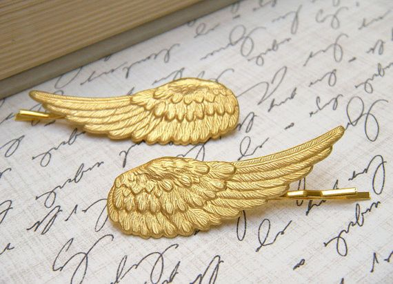These gorgeous brass angel wing hair pins will make you feel like a Greek goddess when you wear...