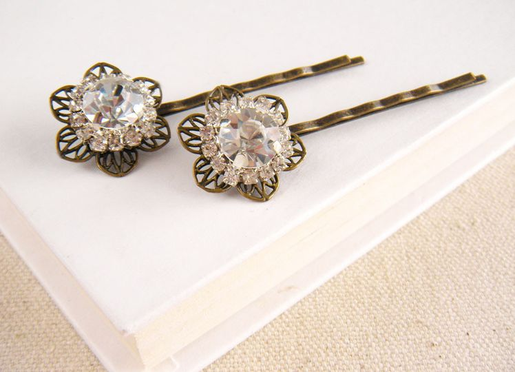 This lovely set of 2 rhinestone hair pins will add sparkle and class to whatever bridal hair style...