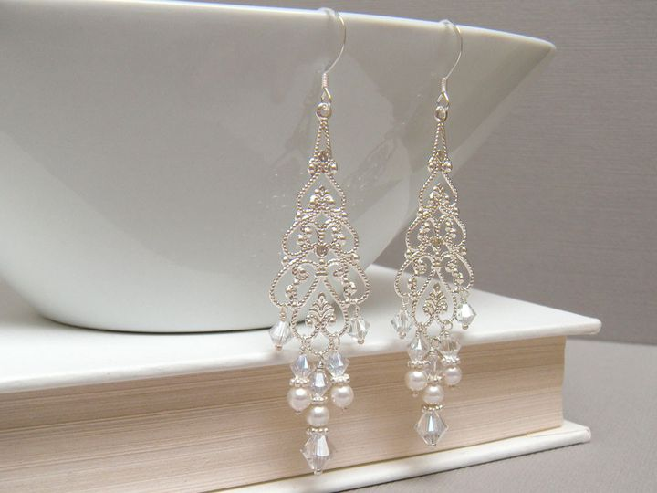 Tmx 1364855147757 Elizabeta Chandelier Earrings Silver 1000 3 Poughquag wedding jewelry