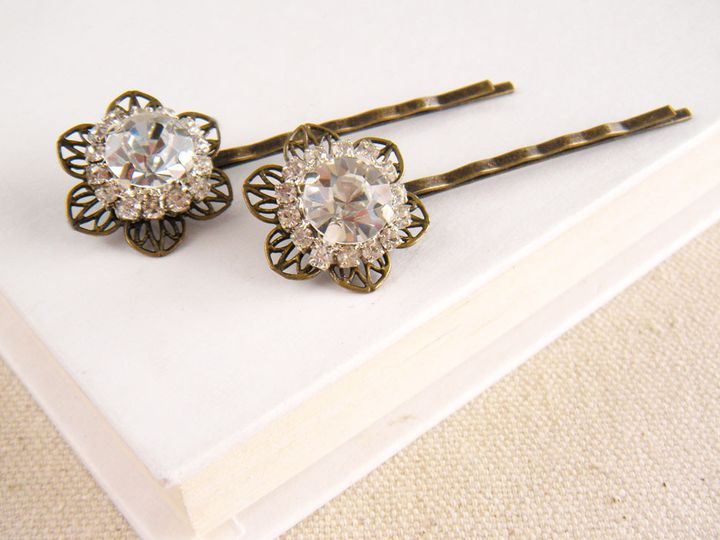 Tmx 1394309916928 Crystal Flower Hair Pins 1000  Poughquag wedding jewelry