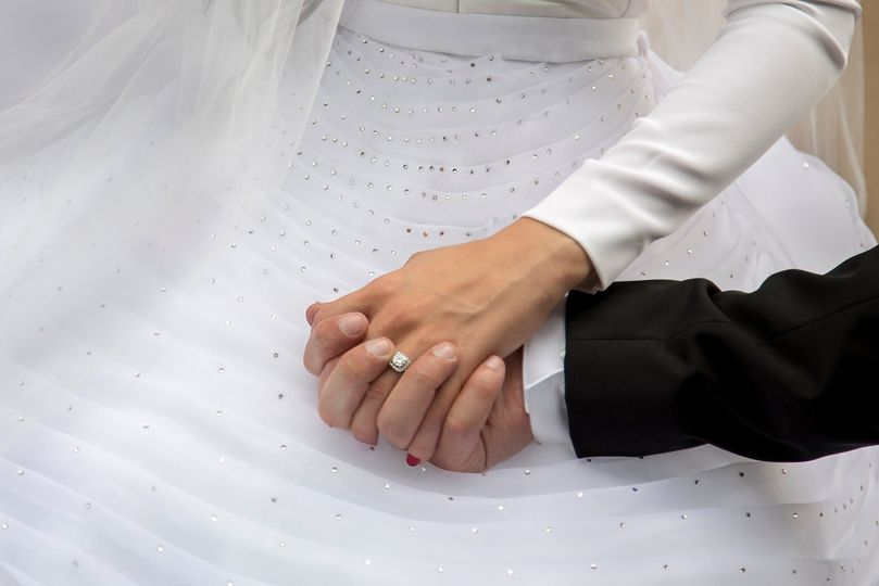Couple, hands, ring, bride and groom