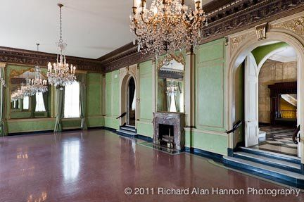 The grand ballroom is worthy of royalty with its high ceilings, crystal chandeliers, and ornate,...