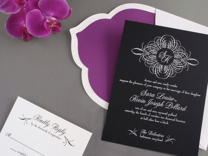 Tmx 1365886151503 P24 2589 91330 Blackcardwithscallopedenvelope4x6 Chester Springs, Pennsylvania wedding invitation