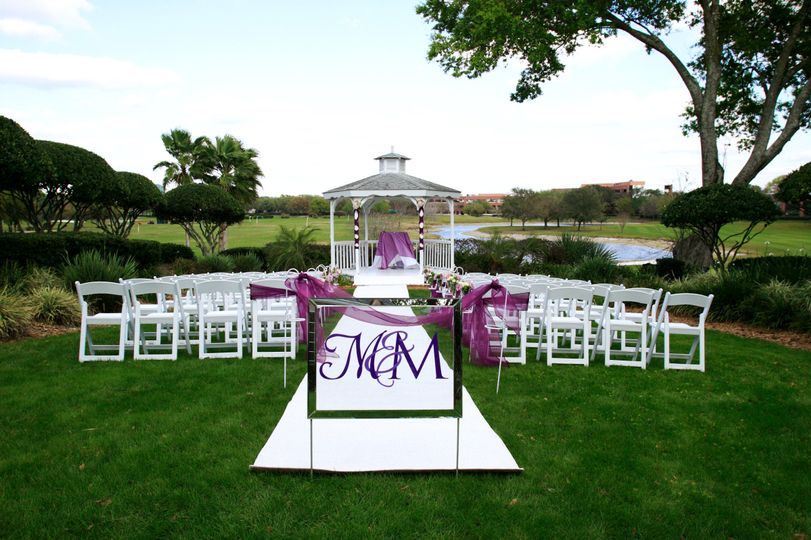 Wedding ceremony setup outdoors