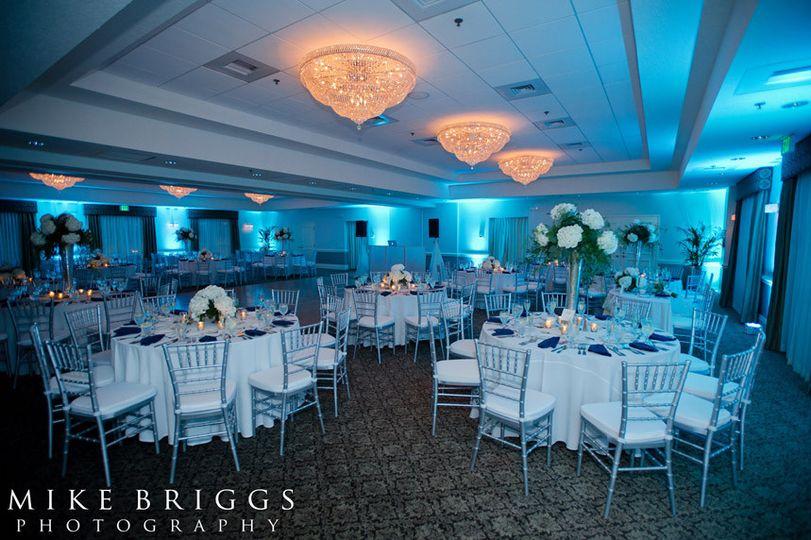 Table setup with blue lights