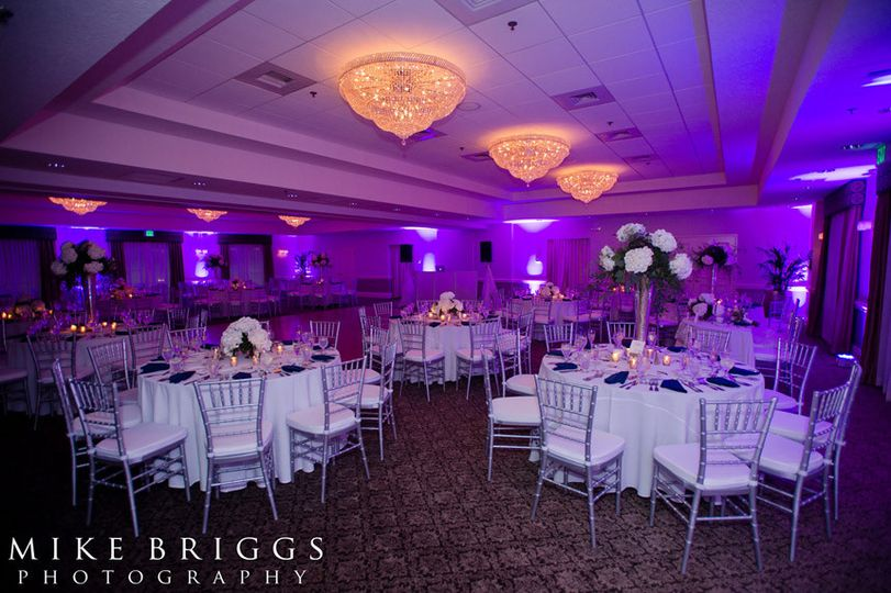 Table setup with violet lights
