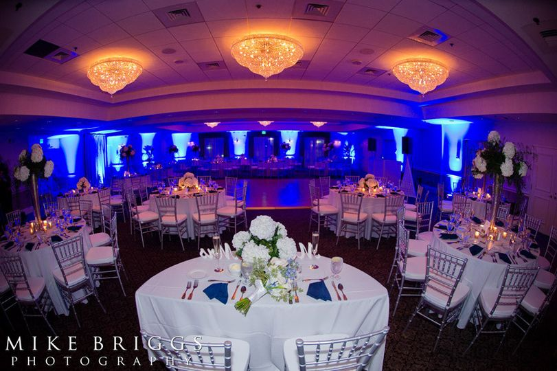Table setup with violet and blue lights