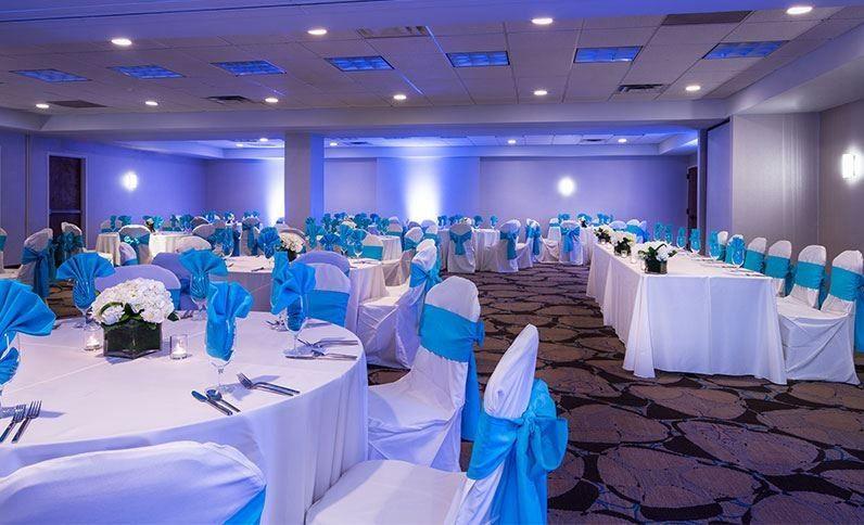 Blue and white table setup
