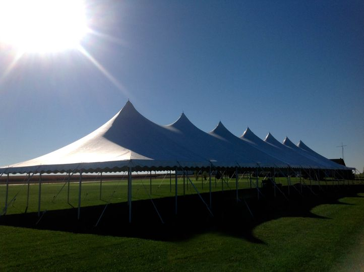 Large white tent, ideal for ceremony