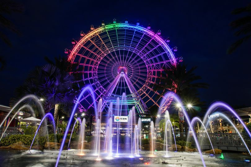 ICON Orlando Rainbow Lighting