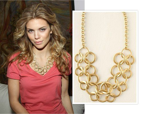 AnnaLynne Mccord in vintage link chain necklace