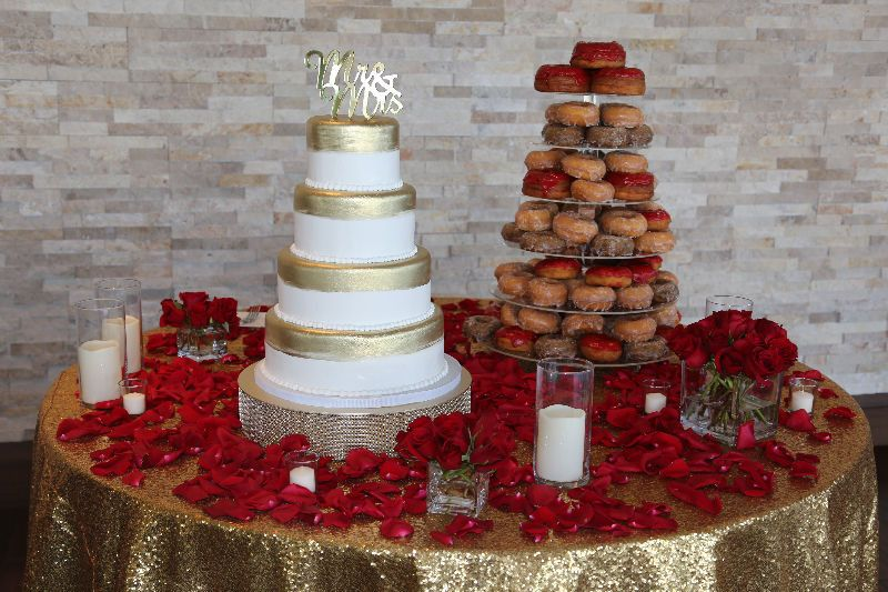 Wedding cake and donut tower
