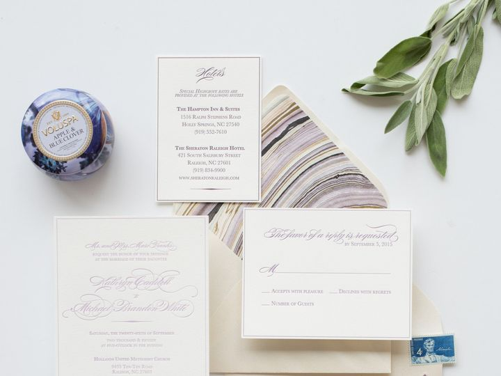 Tmx 1468257793249 Mikkelpaige Oneandonly 2016suites 55 Cary wedding invitation