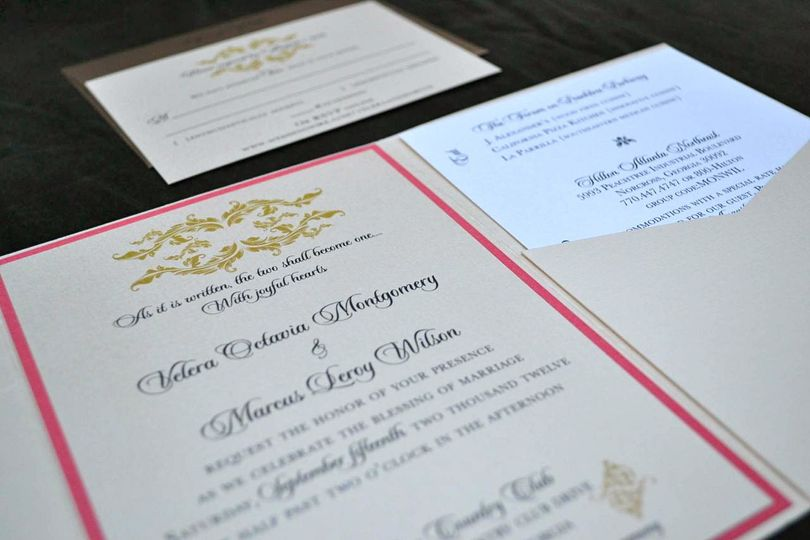 Gold and Coral Pocket Fold suite with Wedding Detail Insert and RSVP Card