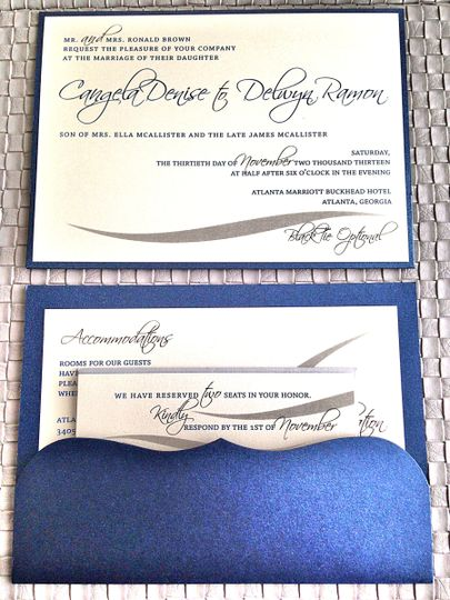Clutch Style Wedding Invitation Suite (Front and Back Shown