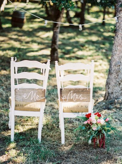 Chairs of the newlyweds