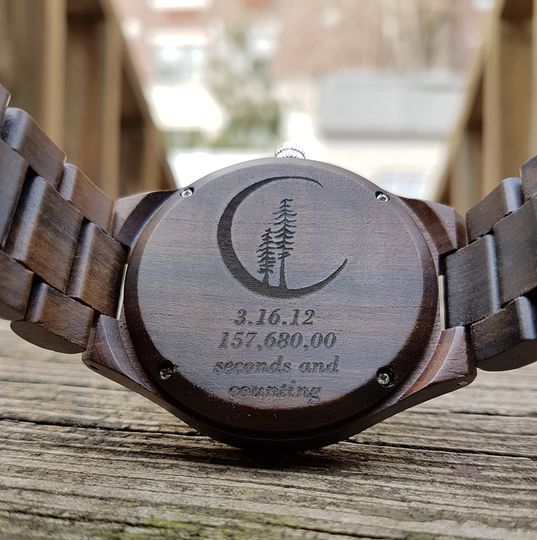 engraving wood watch mens gift