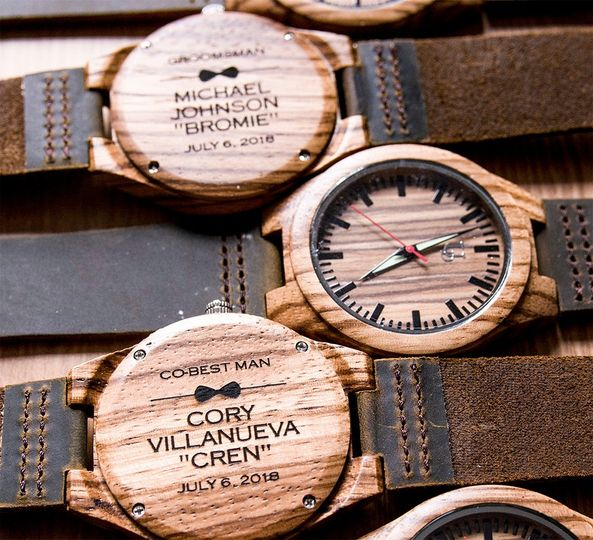 Groomsmen Engraved wood Watch