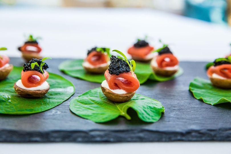 Smoked salmon and caviar