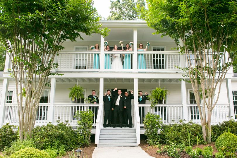 Wedding party on our porch