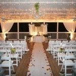 Outdoor pavilion decked out for a wedding