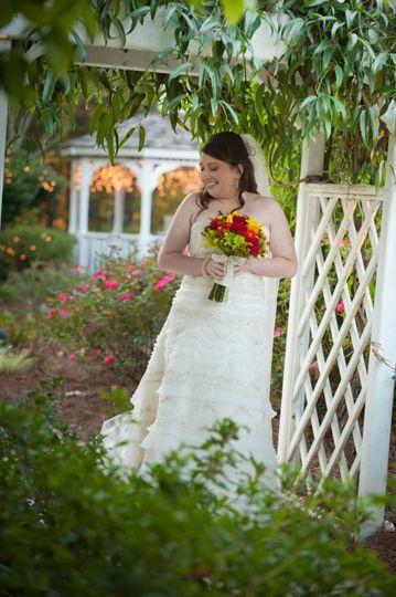 Bride under one of our garden arbors