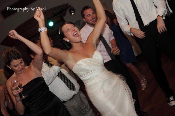 Bride having fun at the dance floor