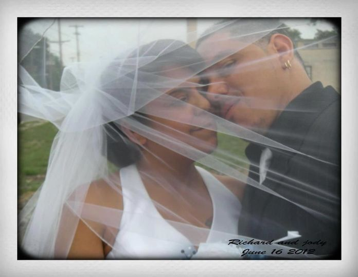 Newlyweds under veil