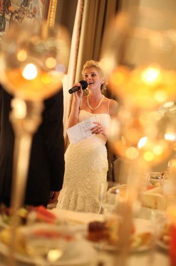 Bride singing