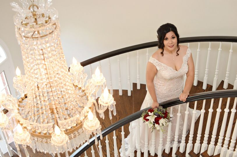 Stair case, bride & chandalier