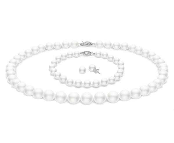 Full Set of White Freshwater Pearl Jewelry