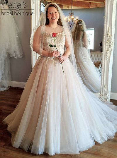 Real bride in blush A-line.
