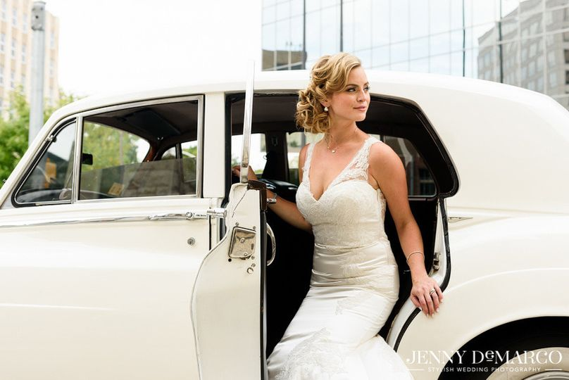 Bride exiting the car