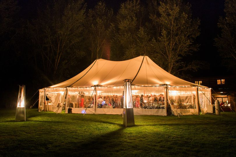 Evening reception tent lighting