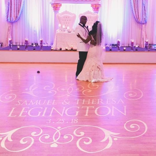 First dance and monogram floor projection
