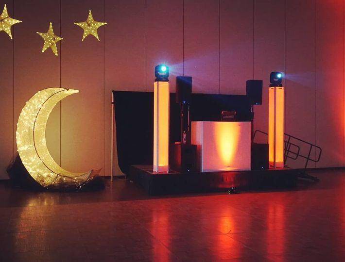 Moon lighting and DJ booth
