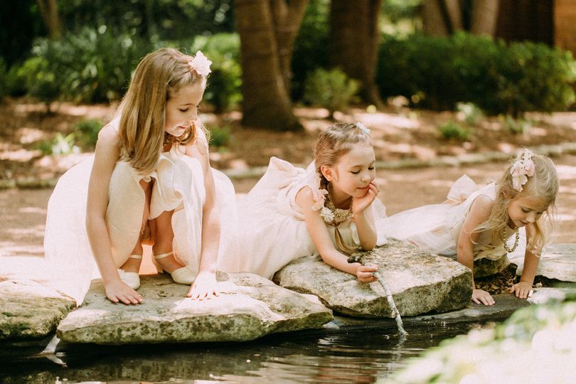Kids playing in the pond