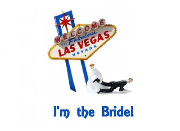 Bride dragging the Groom in Las Vegas near the famous sign!