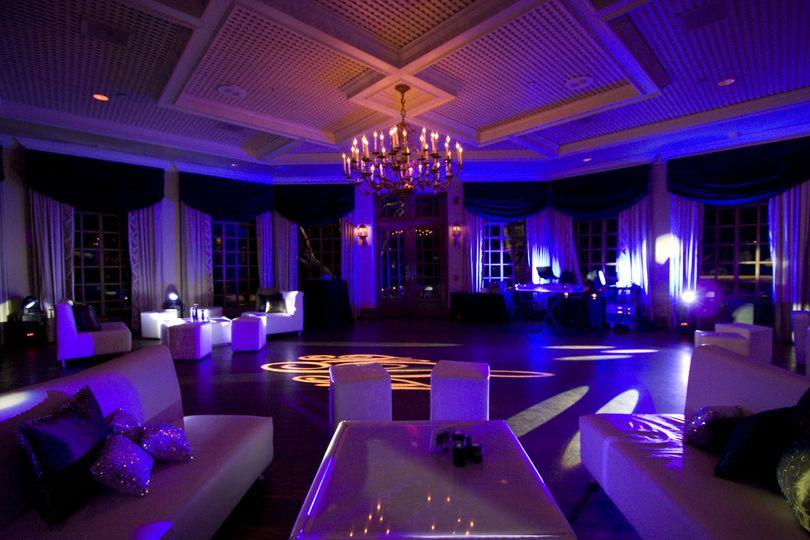 Wedding reception area with uplighting