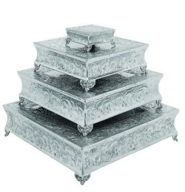 Square Ornate Silver Cake Stands Available for Rental in FOUR sizes