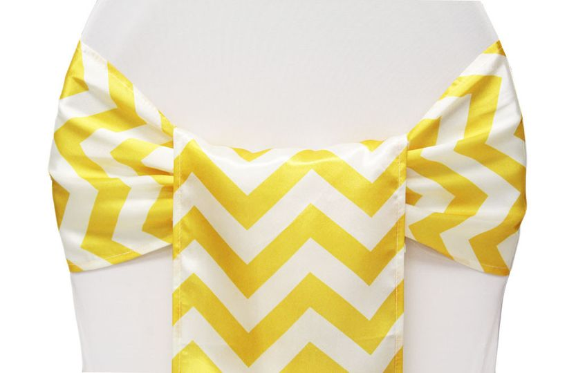 Chevron Yellow Chair Sash. Also available in Gray & Orange