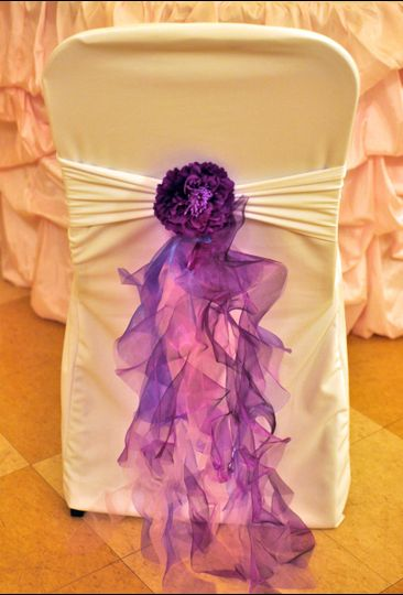 Flower Ruffle Chair Band. Available in many colors.